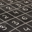 Multiplication table on blackboard — Stock Photo