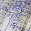 House floor plan blueprint — Stockfoto