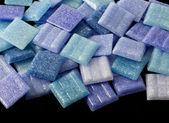 Blue glass mosaic tiles — Stock Photo