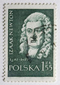 Sir Isaac Newton on a post stamp — Stock Photo