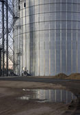 Newly constructed metal grain silo — Stock Photo