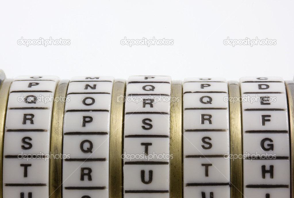 Password or keyword - truth. A combination puzzle box (cryptex) with letter rings on a white background; copy space. — Stock Photo #2433001