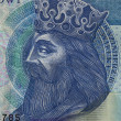Polish medieval king on banknote — Stock Photo