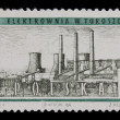 Royalty-Free Stock Photo: Coal power plant on vintage post stamp
