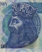 Polish medieval king on banknote — Stock Photo