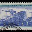 Shipyard on post stamp from Poland — Stok fotoğraf