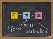 Newton second law on blackboard — Stock Photo