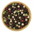 Bowl of colorful rainbow peppercorns — Stock fotografie
