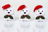 Three white santa bears — 图库照片