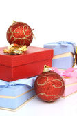 Balls and gifts — Stock Photo