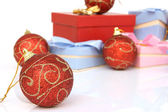 Ball and blur gifts — Stock Photo
