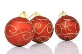 Tři vánoční koule — Stock fotografie