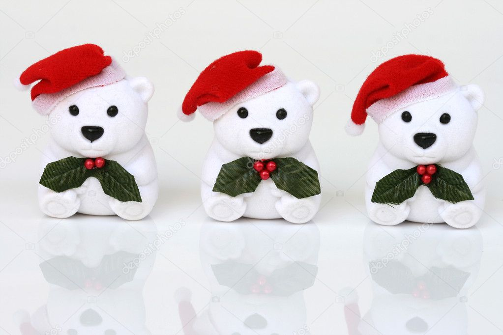 Celebration objects three white santa bears on white background — Stock Photo #2327084