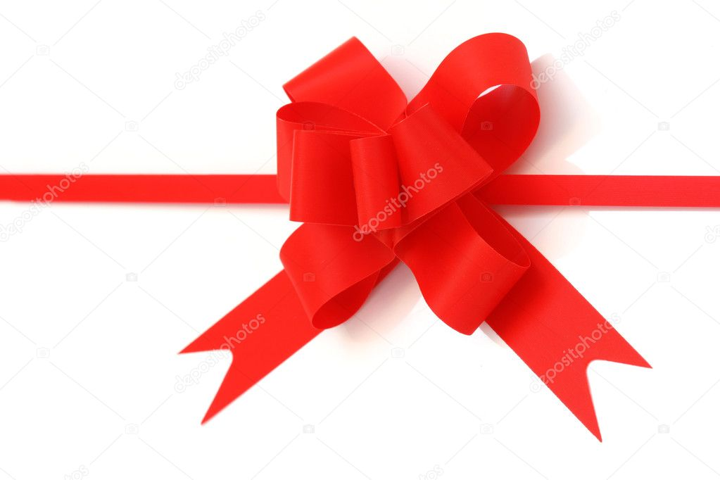 Red gift bow and ribbon isolated on white background  Stock Photo #2327470