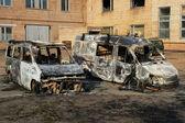 Burnt down cars — Stock Photo