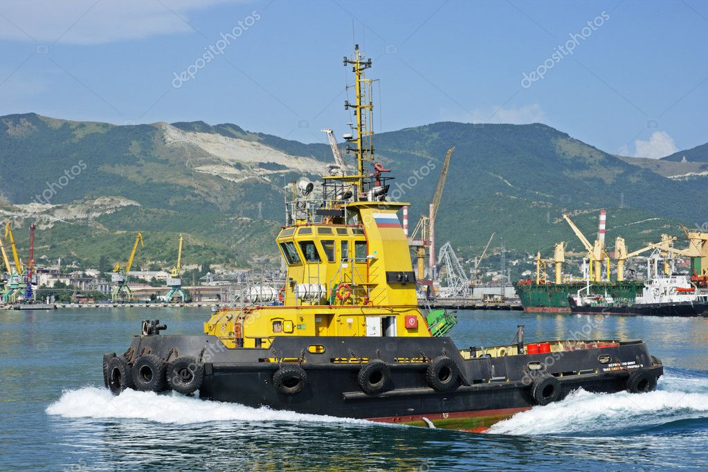 The ship floats on the Black sea about port the cities of Novorossisk (Russia)  Stock Photo #2049129