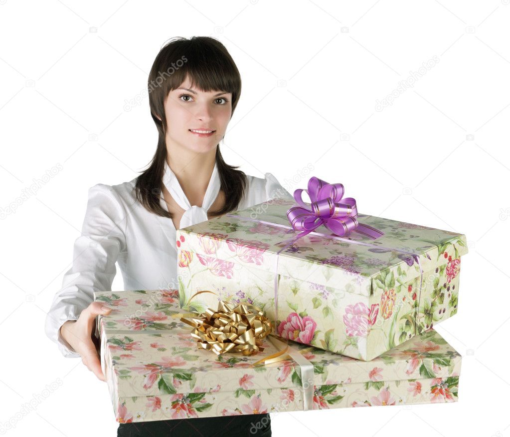 The fine girl with a gift box in hands — Stock Photo #2053206