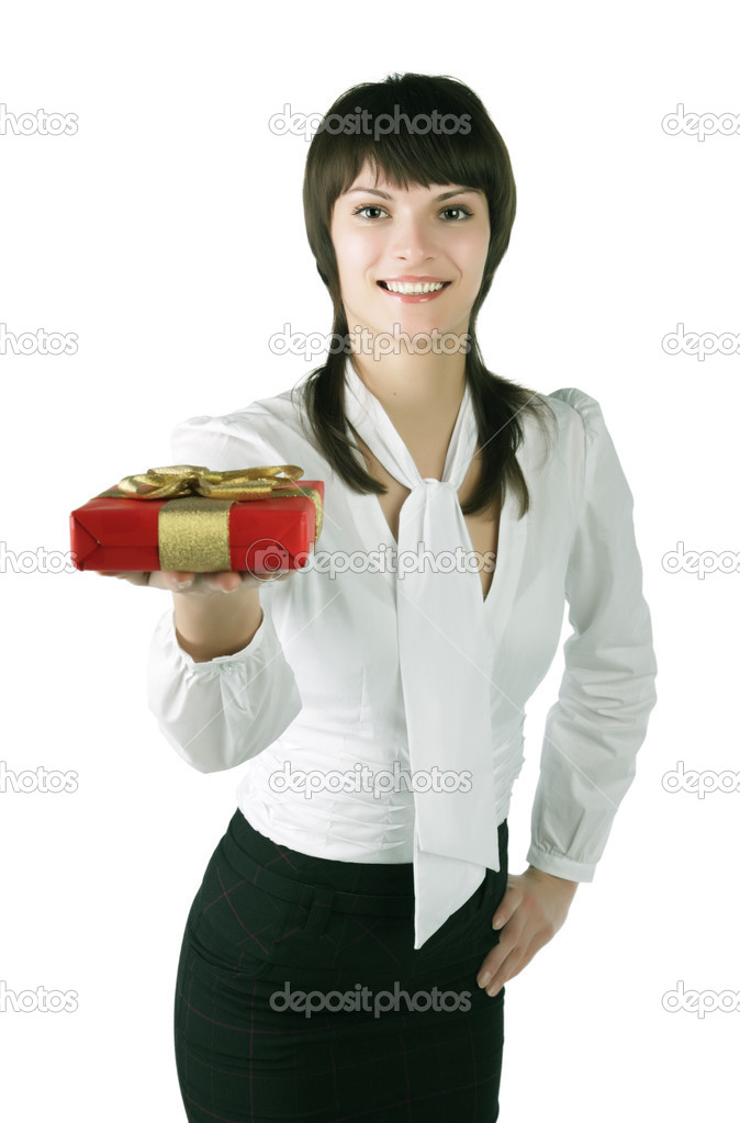 The girl stretches a red box, isolated on white background  Stock Photo #2053252