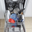 Stock Photo: Dishwasher with open hatch