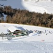 Stock Photo: View down ski slope on chairlift station