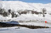 View down ski slope — Stock Photo