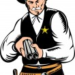 Sheriff cowboy with shotgun - Stock Photo