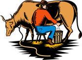 Rolnik dojenie krowy — Zdjęcie stockowe