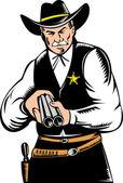 Sheriff cowboy with shotgun — Stock Photo