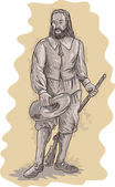 Pilgrim standing holding a musket rifle — Stock Photo