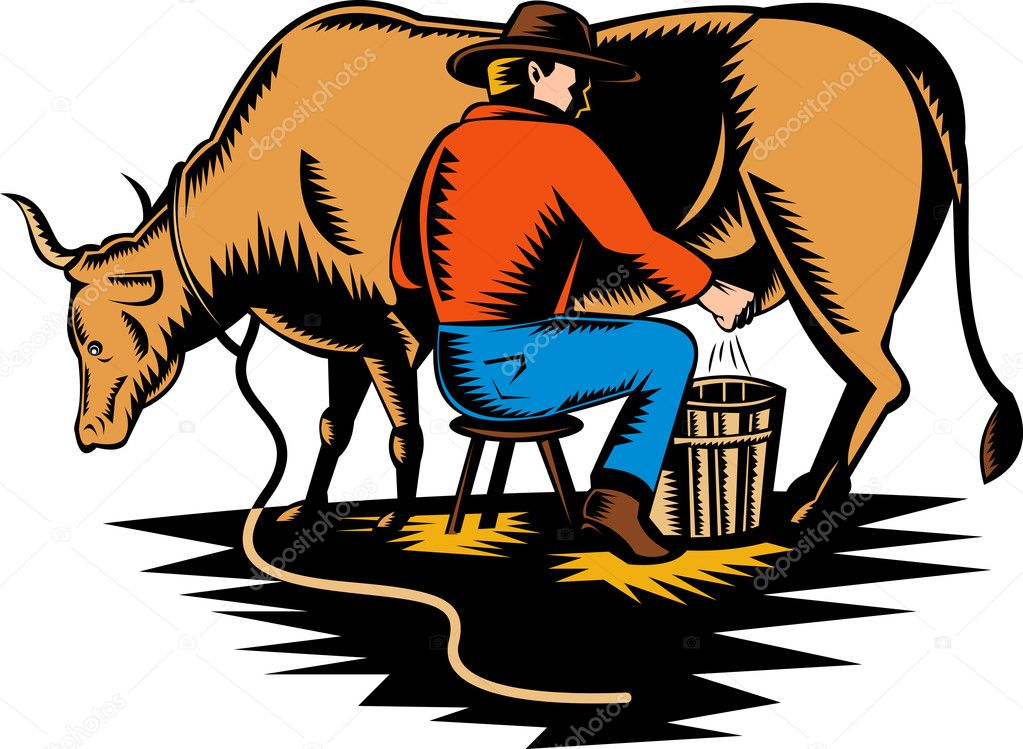 Illustration of a Farmer milking cow done in woodcut style — Stock Photo #2056594