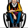 Old handicapped man sit on wheelchair — Stock Photo