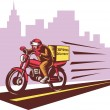Courier delivery person ridie motorbike - Stock Photo
