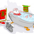 Santa in bath tub relaxing — Stock Photo
