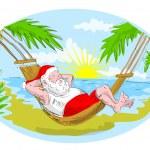 Santa claus hammock tropical beach — Stock Photo