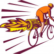 Cyclist racing jet engine on bicycle — Stock Photo