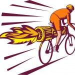 Cyclist racing jet engine on bicycle — Stock Photo