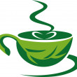 Green leaf cup of coffee — Stock Photo