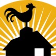 Rooster crowing farm house barn — Foto Stock