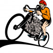 Cyclist racing bicycle v8 car engine — Stock Photo #2061293