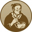 Granny cooking ixing bowl - ストック写真