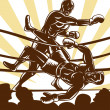 Stock Photo: Boxer knockout boxing ring
