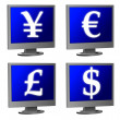 Computer monitor with currency symbols - Stock Photo