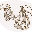 Hands Barter trading swapping shoes bag — Stock Photo #2064676
