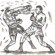 Drawing of two boxers punching - Stock Photo