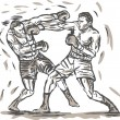 Stock Photo: Drawing of two boxers punching