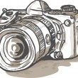Drawing of a digital SLR camera — Stock Photo