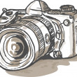 Stock Photo: Drawing of a digital SLR camera