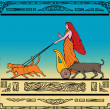 Royalty-Free Stock Photo: Freya Norse goddess chariot cat boar