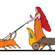 Stock Photo: FreyNorse goddess chariot cat boar