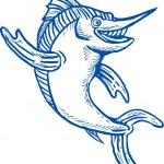 Blue marlin waving hello — Stock Photo
